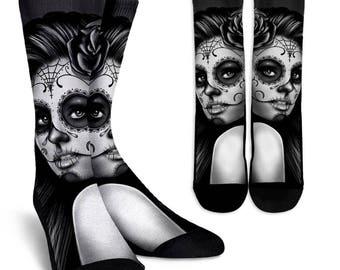 Calavera Socks, Custom Printed Socks, Novelty Socks, Cute Socks, Cool Socks, Funny Socks, Fun Socks, Unique Socks