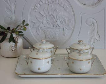 Cream pots service.Cream jars.Porcelaine Paris.