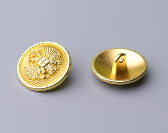 Metal Buttons-10pcs Gold Vintage Style Button Round Metal Button Clothing Button 21mm