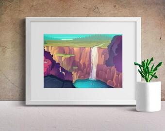 Waterfall Vector illustration