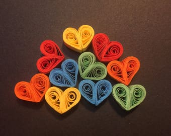 10 Small quilled hearts, paper embellishments