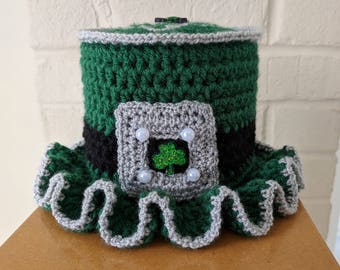 Irish Home Toilet Paper Tissue Roll Hat Cover Bathroom Decor Clover St. Patrick's Day Shamrock P