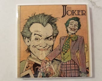 Joker (Batman) 80's Comic Book Ceramic Tile Coaster- 80's Party