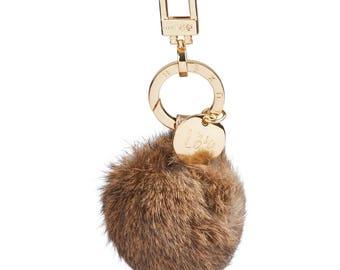 Luxe B Pom Pom Keychain, Handbag Fur Bag Charm, Pom Pom Keychain Gold , High End Luxury Bag Charm