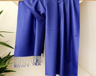 100% Silk Shawl - Dark Blue