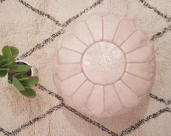 Premium Handmade Moroccan Leather Pouf Ottoman, Genuine leather Moroccan Pouf , pouffe , ottoman,P25