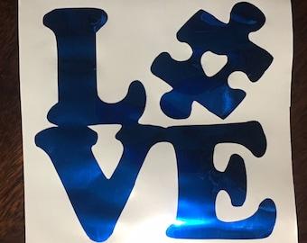 Blue Love Autism Awareness Decal - Autism Decal - Autism Sticker - Autism Car Decal - Puzzle Piece - Autism Awareness Decal - FREE SHIPPING