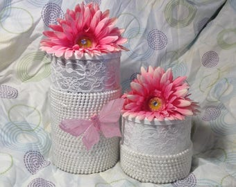 Hand decorated Pretty Pearls, Lace & Daisy Canister set