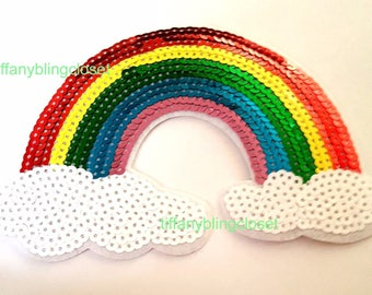 rainbow iron on high quality  sequins / embroidered