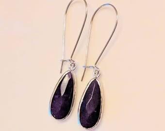 Indigo purple teardrop earrings