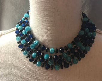 Gorgeous Blue Baulky Necklace