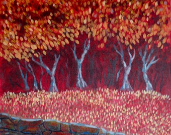 Red Grove Art Acrylic Painting Giclee Print
