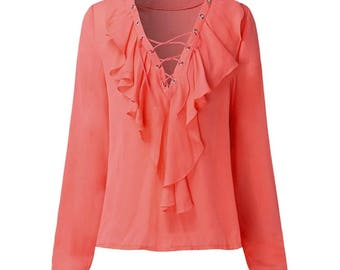Ladies pink and red new fashion blouse