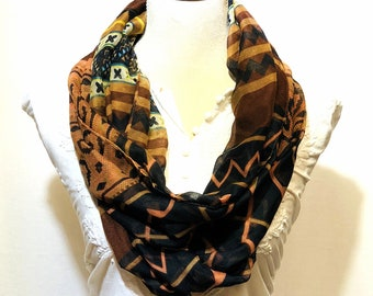Brown printed scarf | summer collection | lightweight | handwoven