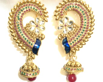Dull gold Peacock all over ear earrings with jumkha dangling