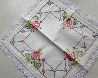 Swedish Hand embroidered Tablecloth / Doily / Vintage