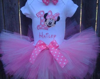 Candy pink and white Minnie Mouse Birthday tutu set personalized