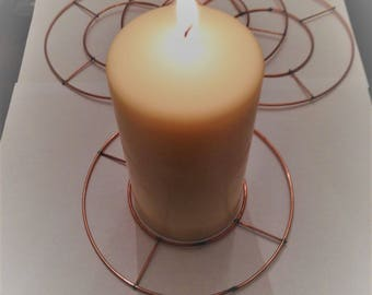 "Small 6"" Wreath Round Flat Copper Table Candle Decoration Mini"