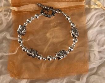 Silver accent Buddha charm bracelet