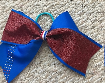 Cheer Bow Patriotic Red White Blue
