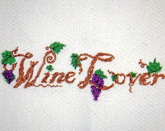 Wine Lovers Embroidered Kitchen Towel
