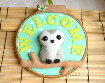 Owl wall art, welcome, Housewarming, home decor, bird woodland animal decor, animal lovers gift, Polar owl, White Owl, arctic owl.