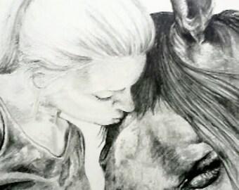 Custom wildlife/pet portrait in pencil - portrait from your photos