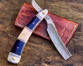 Damascus Steel Straight Razor- Men's Grooming- Wet Shaving