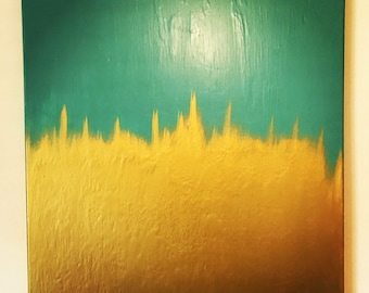 Aqua Blue and Gold Abstract