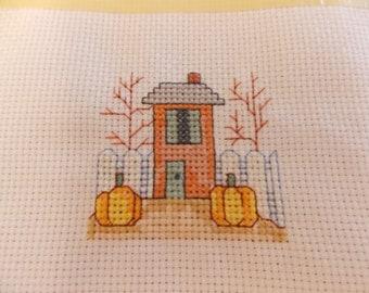 Miniature counted cross-stitch Autumn home