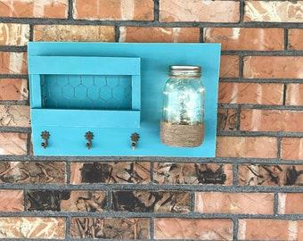 Rustic, wooden, sign, key/letter holder