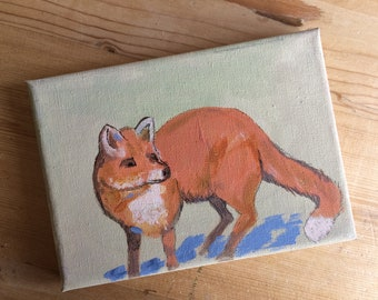 Mini canvas - 7 x 5'' - done in acrylic paint - Sly Fox