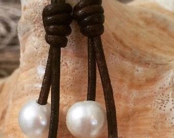 Dangle Drop Earrings Single Pearl