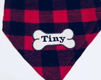 Personalized, Dog Bandana, Buffalo Plaid, Bone, Over the Collar,  Dog gift, Christmas gift, monogram dog scarf, dog lovers gift, photo shoot