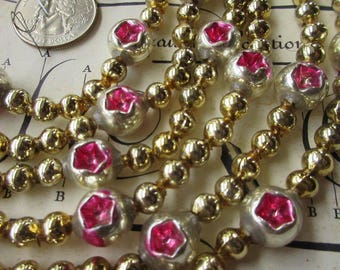 Indents Garland Vintage Mercury Glass Bead Christmas Tree Garland 80 Inches Long Pink Silver Gold