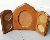 Vintage Wooden Triptych folding photo frame. Vintage wooden frame.