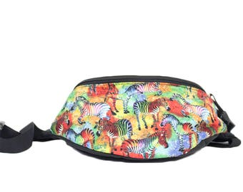 Fanny pack Rainbow Zebra  - Hip Waist Bag with 2 zippered pockets
