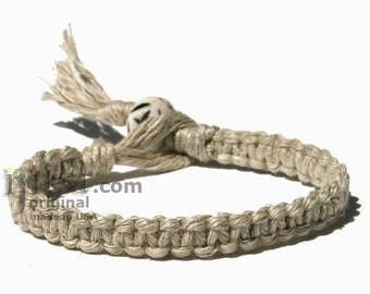 Natural flat hemp surfer bracelet or anklet