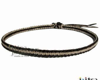 Dark Brown and Natural Flat Hemp Surfer Necklace