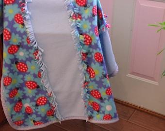Fleece Ladybug baby blanket