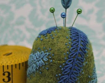 Ready To Ship - Feather fronds L+ Bottlecap Pincushion  free usa ship