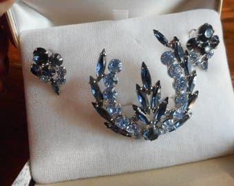 Julianna Unmarked Brooch Earring Set Original Box Sapphire Cobalt Blue Hues Jewelry Set c1950s