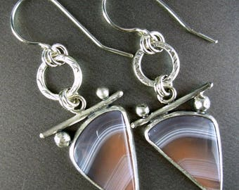PRICE REDUCED SALE  botswana agate designer cabachon. textured sterling wire earings 925 sterling silver silversmith Chelle' Rawlsky  ooak