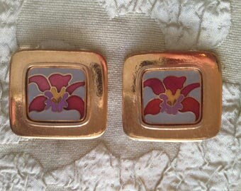 Laurel Burch Red ORCHID Square Cloisonne Earrings Clip-On Style Vintage Jewelry 1980s