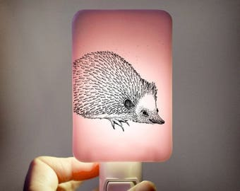 Hedgehog Nightlight on pale pink Fused Glass Night Light - Gift for Baby Shower or Nature Lover - Woodland summer trend animal