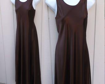 Vintage 90s Chocolate Brown Satin Bias cut Maxi Long Dress / Sz Sml - US 6 - 8
