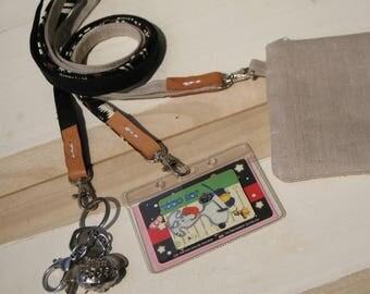 Fabric lanyard, ID badge holder, black lanyard,  linen lanyard, african lanyard , leather, key lanyard holder, neck strap, handmade gift