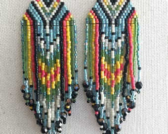 Road Trip - Colorful Turquoise Wild Heart Southwestern Bohemian Fringe Earrings