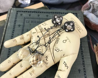 Mechanical Grunge and Glam Rhinestone and Crystal Earrings |  Industrial Chic Dangle Earrings | Gift for her