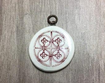Porcelain Ephemera Pendant with Vintage Image